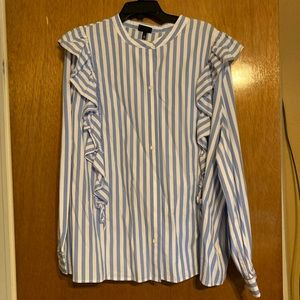 White and blue striped blouse with side ruffles